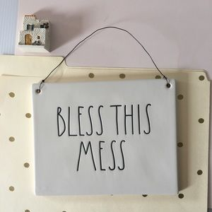 🆕 {Rae Dunn}  BLESS THIS MESS Ceramic Plaque